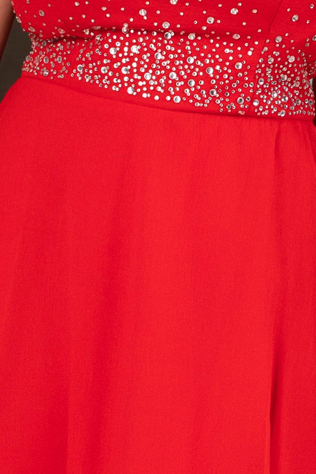 Κόκκινο Φόρεμα Maxi Στράπλες Reveria 7649