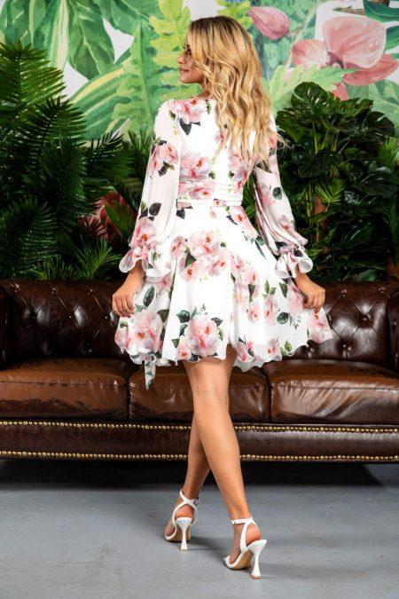 Άσπρο Φόρεμα Με Φιόγκο Simine 7741