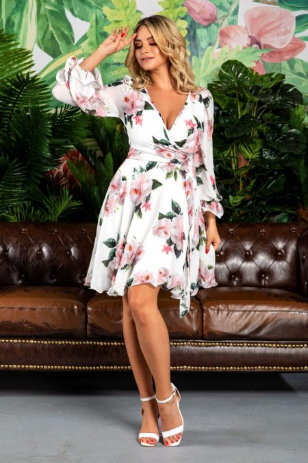 Simine White Floral Dress