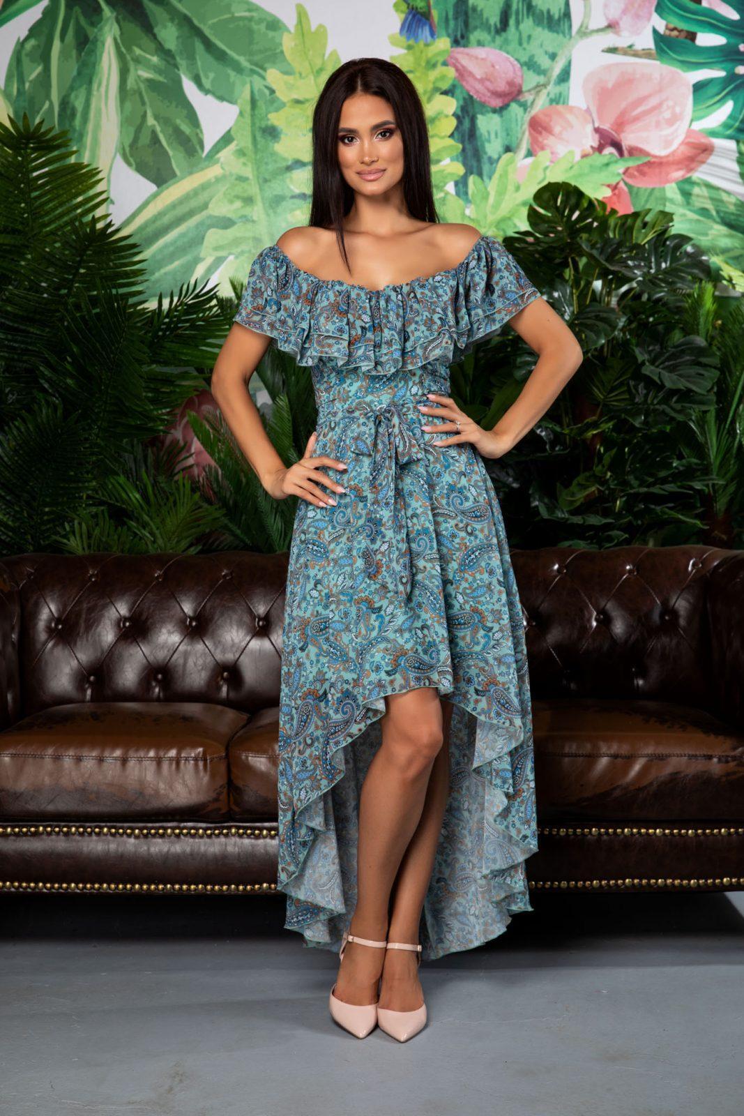 Φόρεμα Λαχούρι Με Βολάν Yolanda A292 2