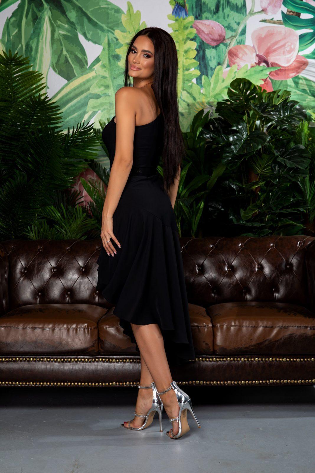 Μαύρο Φόρεμα Με Έναν Ώμο Scarlett 7849