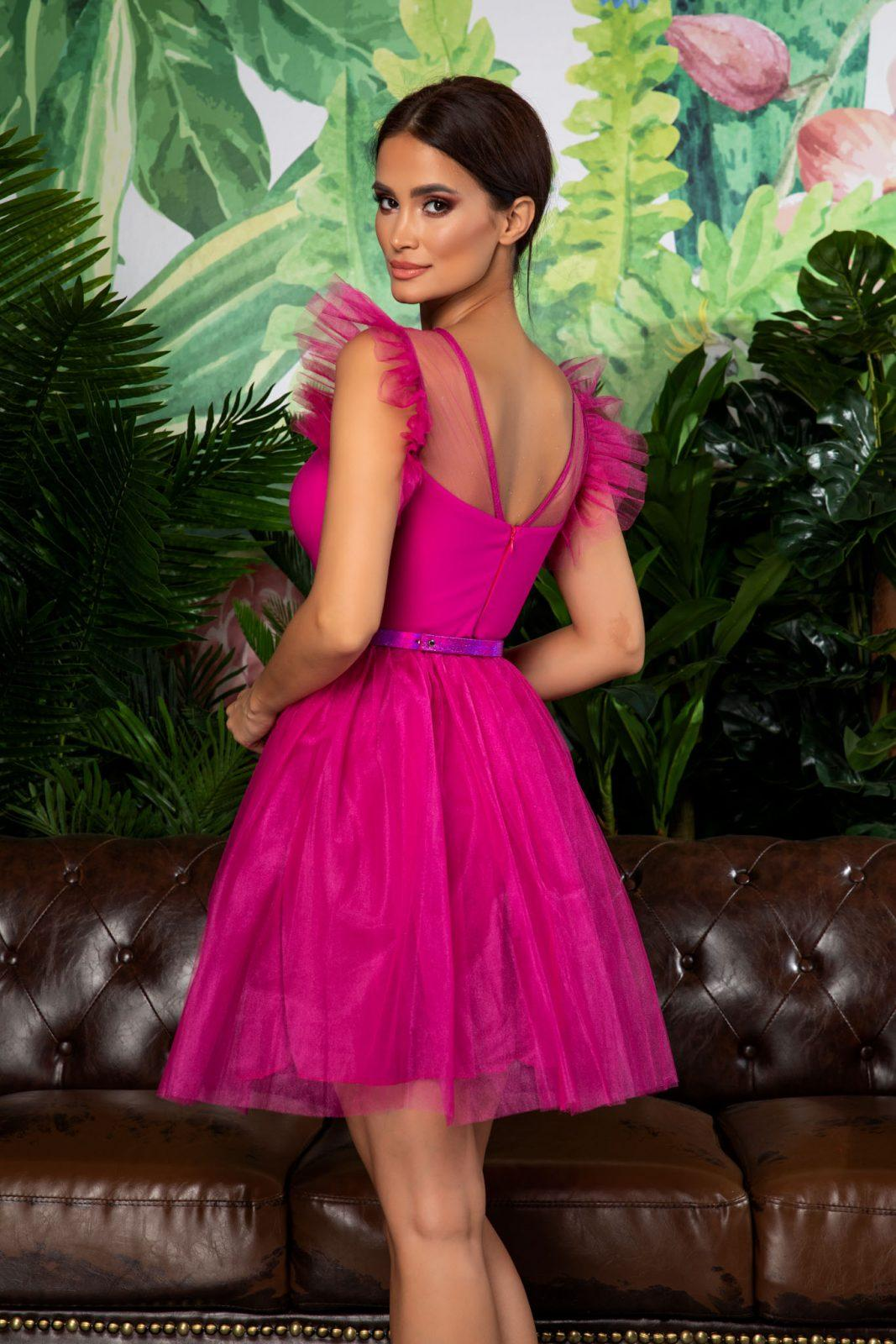 Φούξια Βραδινό Φόρεμα Με Ζώνη Pandora 7865
