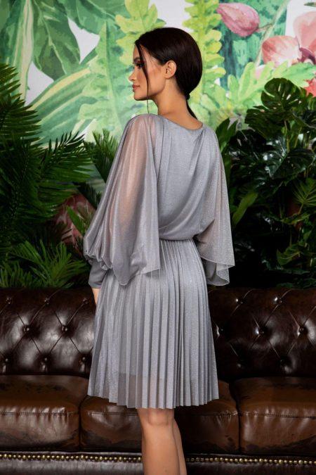 Γκρι Πλισέ Βραδινό Φόρεμα Analisa 7874