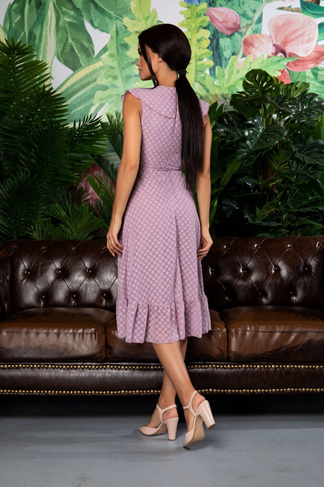 Λιλά Κρουαζέ Φόρεμα Με Βολάν Arya 7905