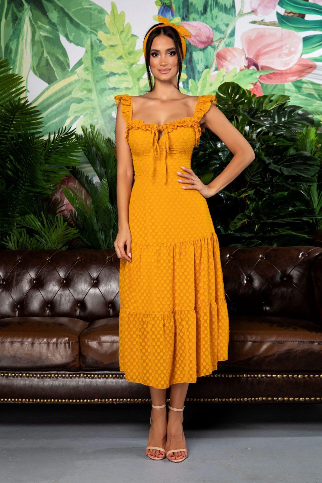 Μουσταρδί Μίντι Φόρεμα Με Βολάν Roina 7841 3