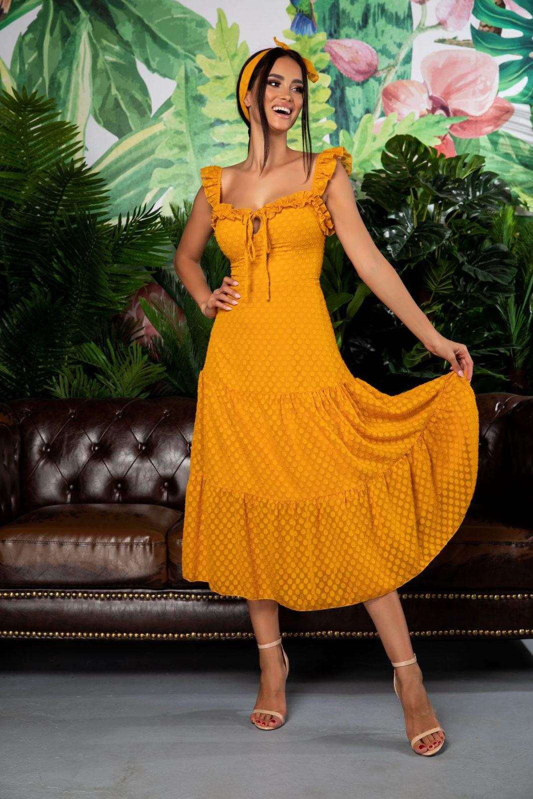 Romina Dark Yellow Dress