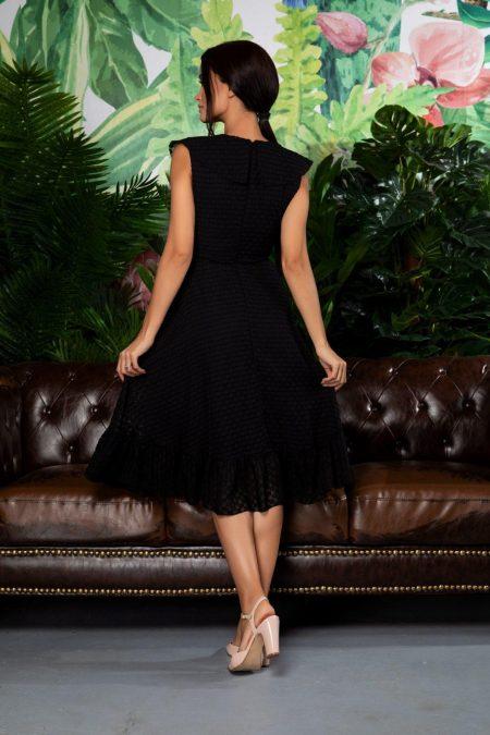 Μαύρο Κρουαζέ Φόρεμα Με Βολάν Arya 7846