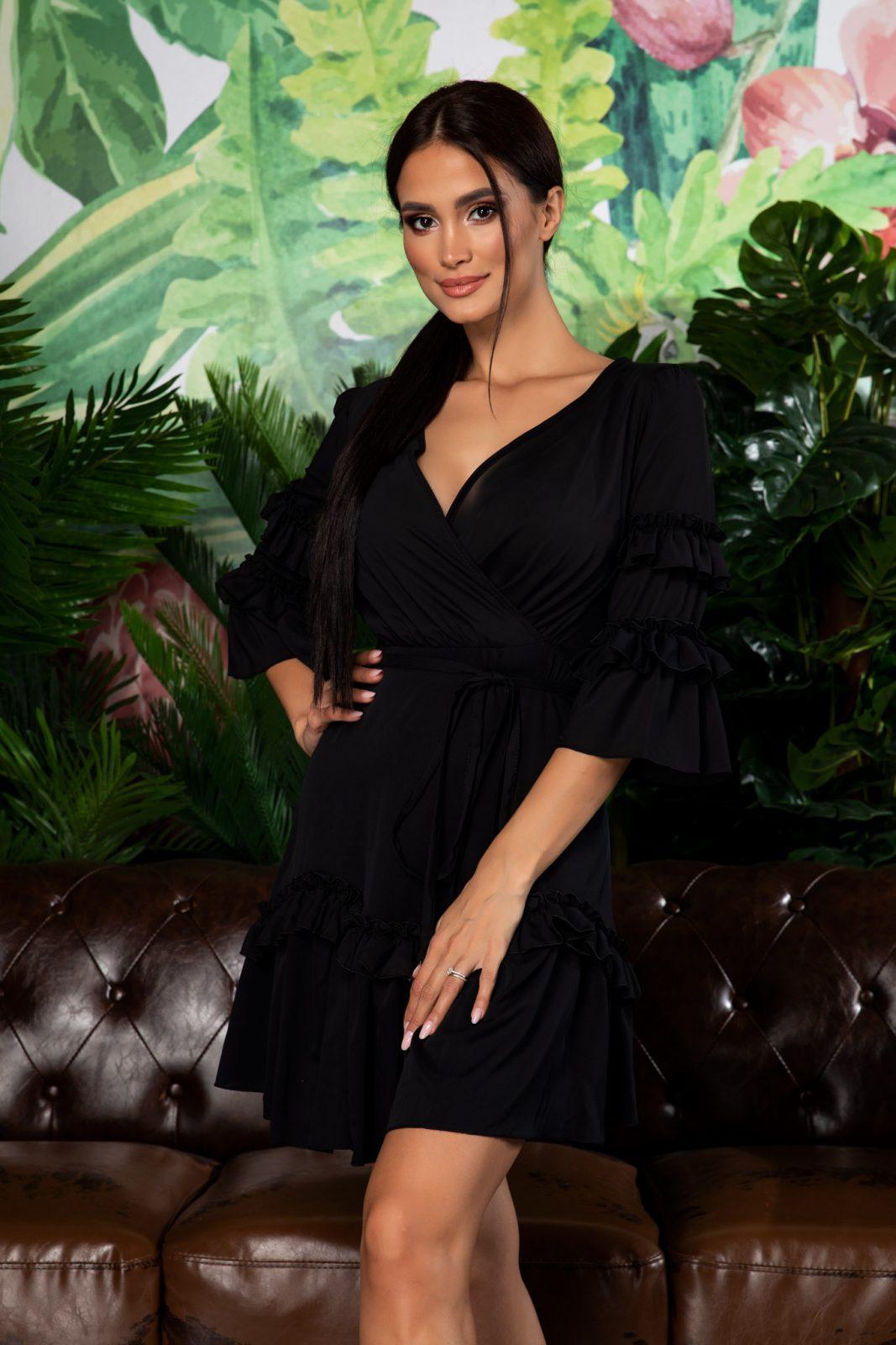 Μαύρο Mini Φόρεμα Με Βολάν Eda 7926