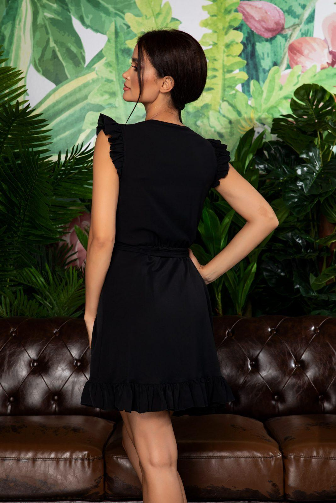 Μαύρο Κρουαζέ Φόρεμα Με Βολάν Rachel 7916 1