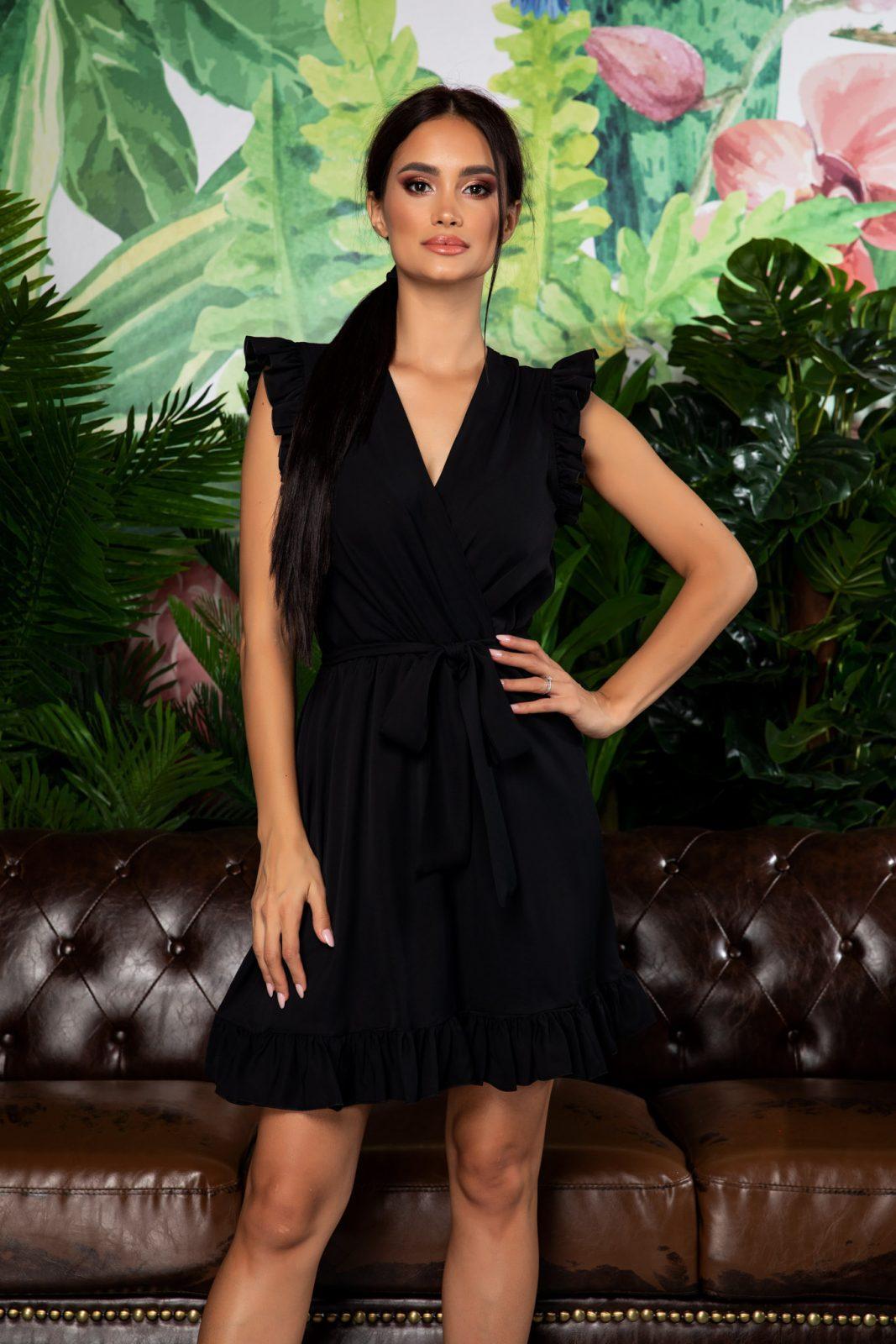 Μαύρο Κρουαζέ Φόρεμα Με Βολάν Rachel 7916