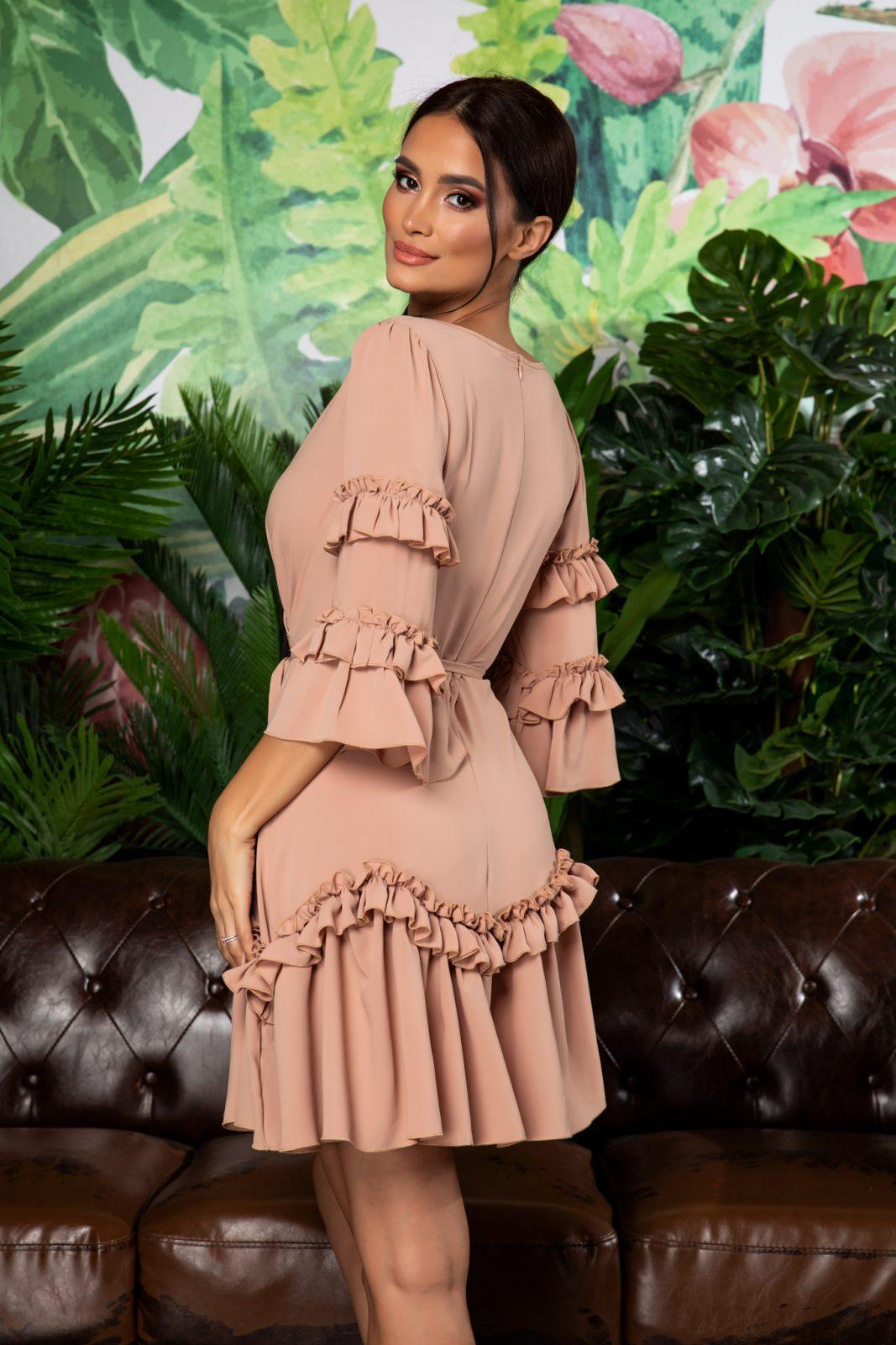 Μπεζ Mini Φόρεμα Με Βολάν Eda 7927