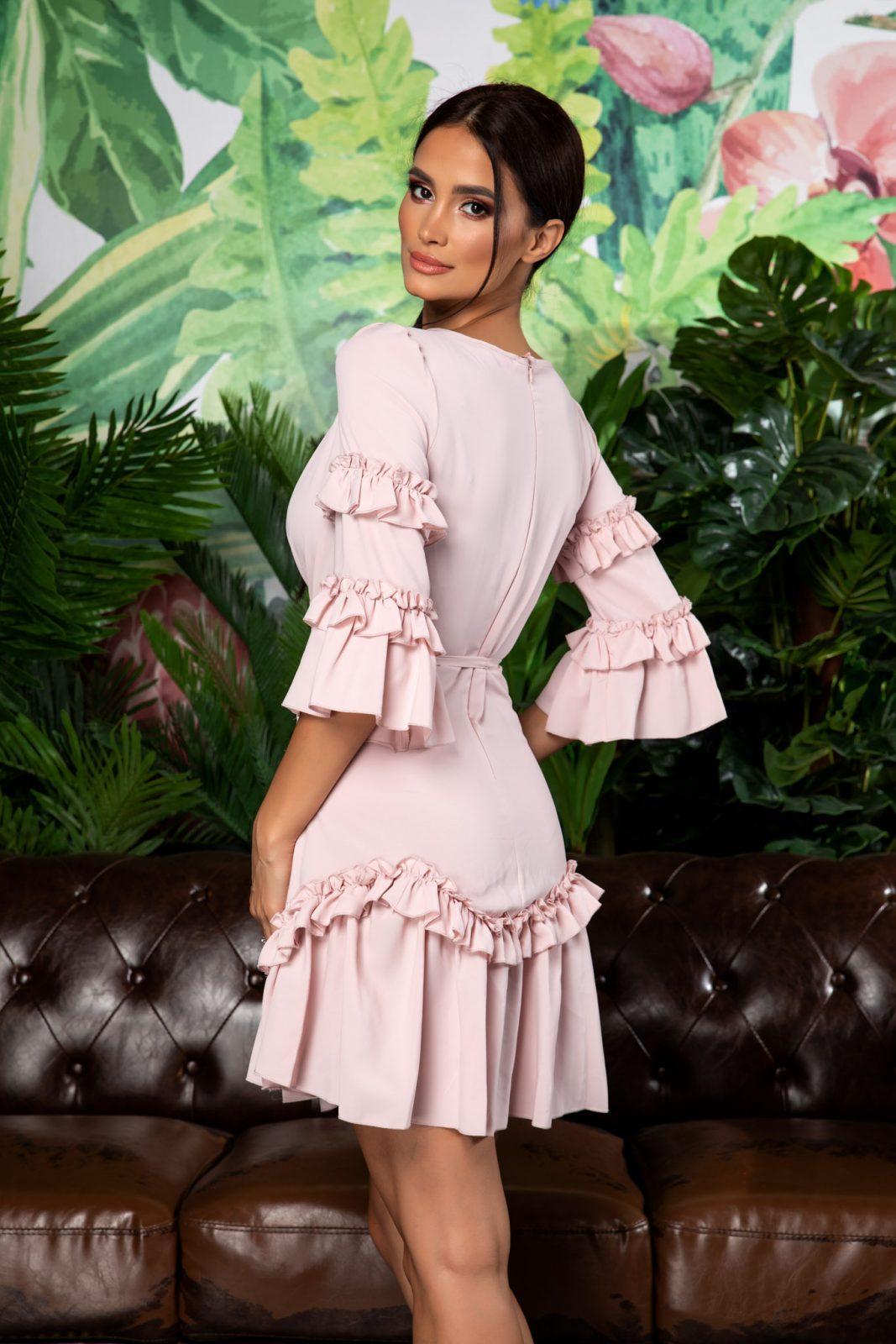 Ροζ Mini Φόρεμα Με Βολάν Eda 7886
