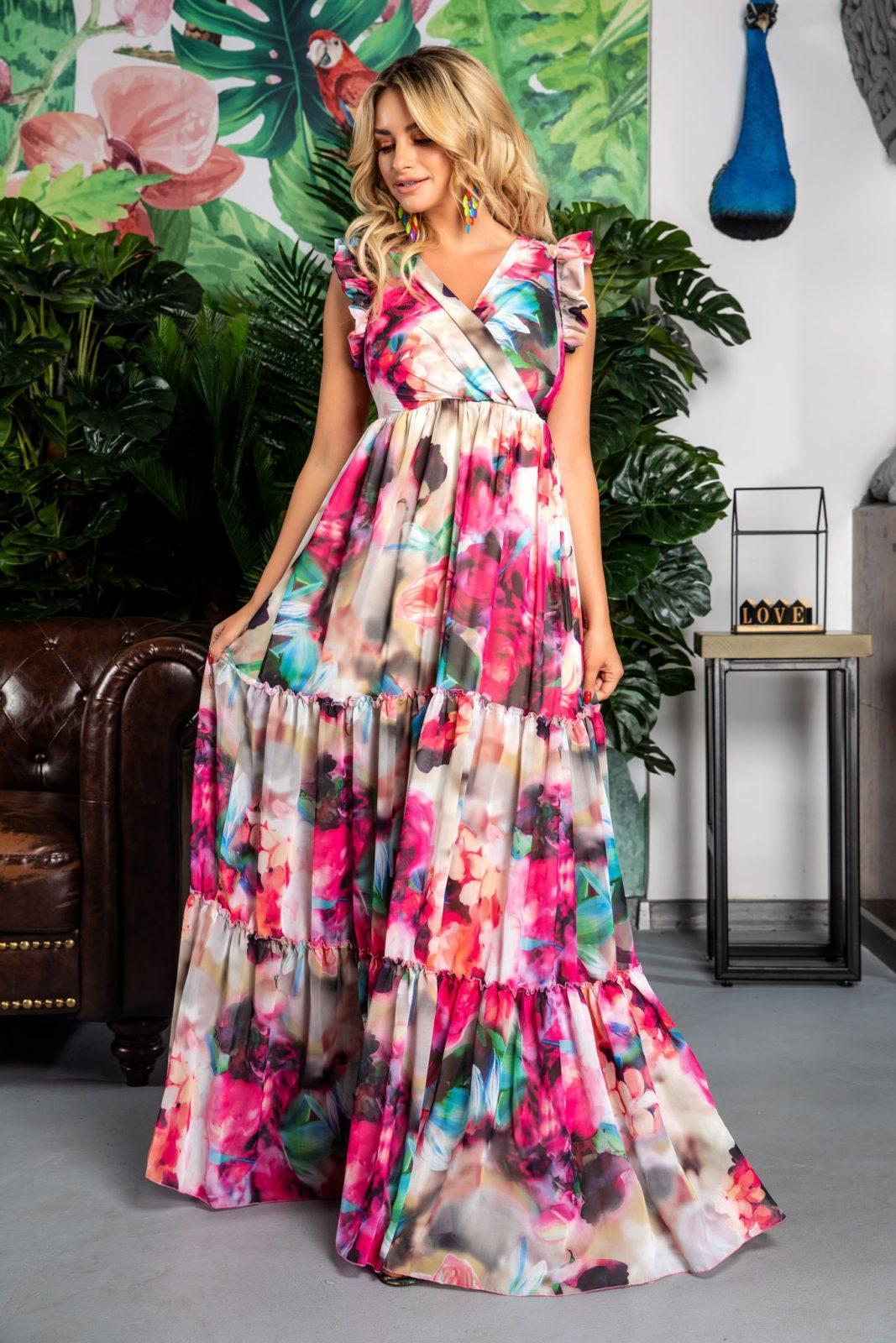 Αμάνικο Κρουαζέ Floral Φόρεμα Evelyn 7770