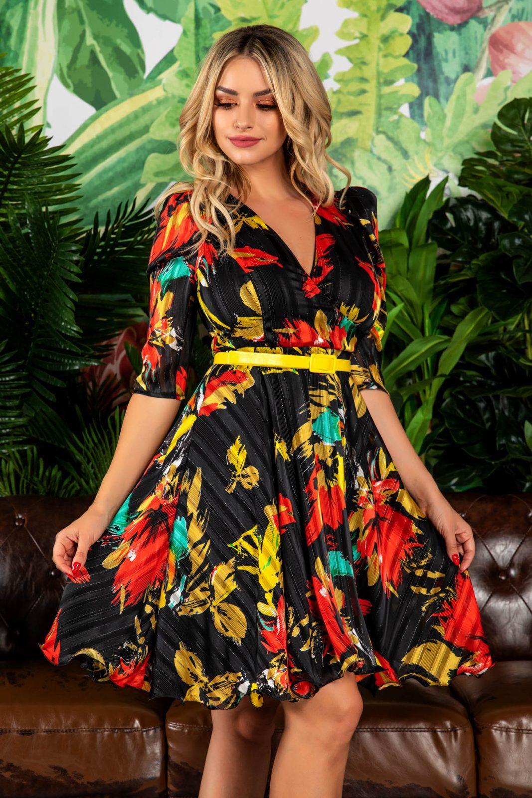 Φλοράλ Φόρεμα Με Κίτρινη Ζώνη Magda 7826