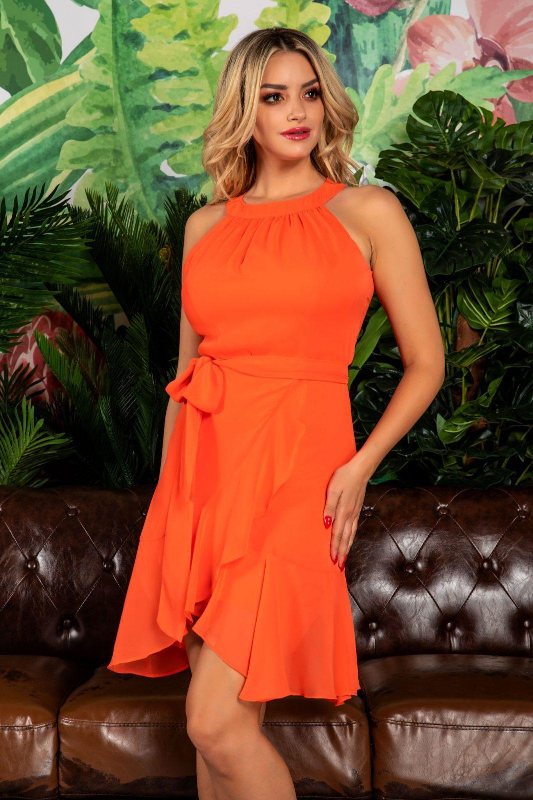 Κοραλί Αμάνικο Φόρεμα Phoebe 7755