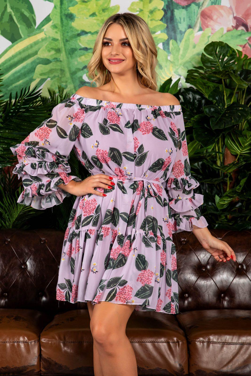Λιλά Μίνι Φόρεμα Jasmine 7822
