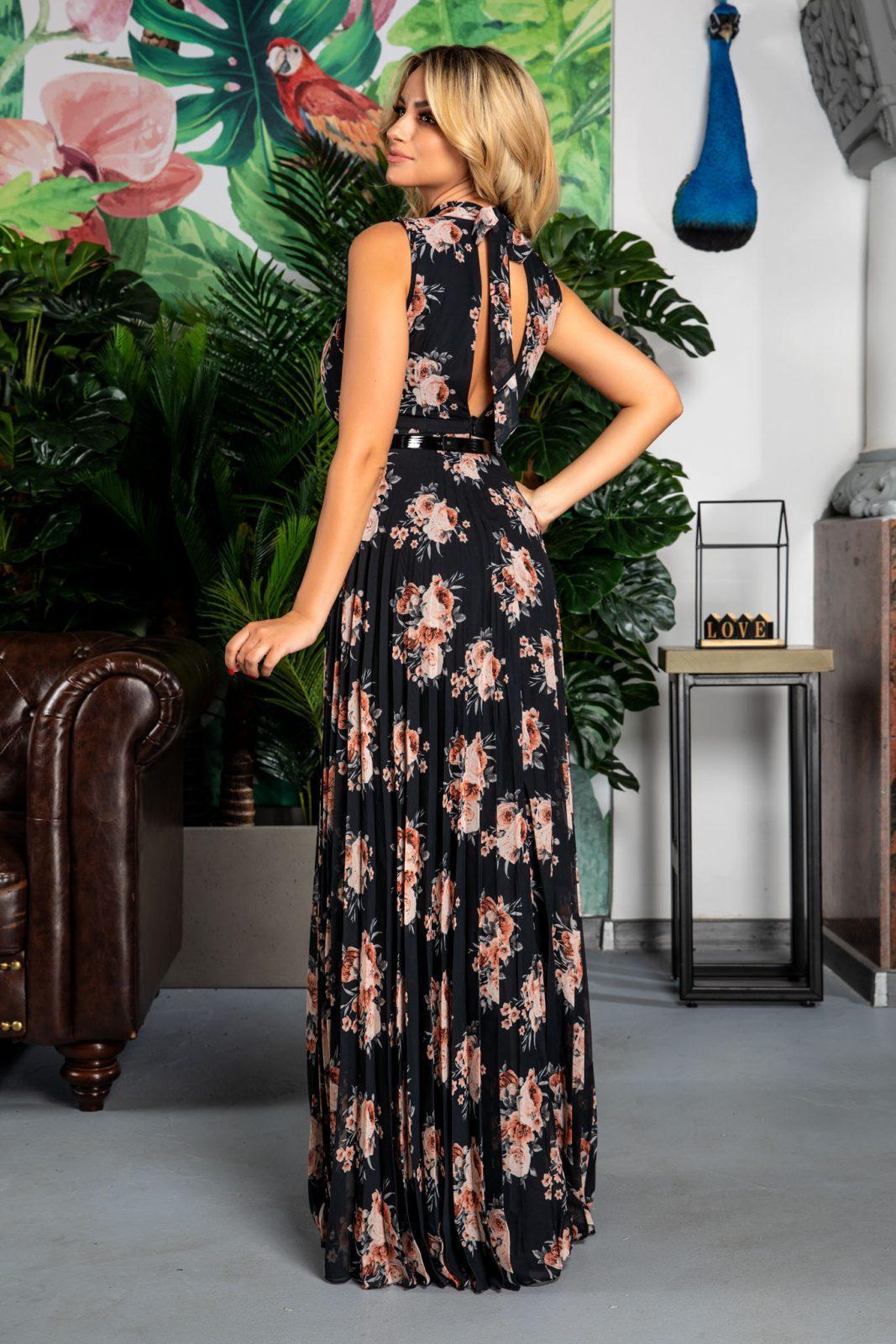 Maxi Φλοράλ Μαύρο Φόρεμα Με Ζώνη Leah 7736
