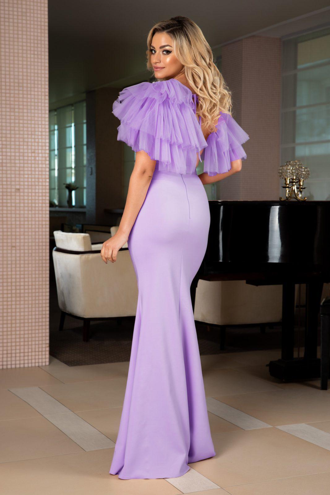 Maxi Λιλά Φόρεμα Σε Γοργονέ Γραμμή Miracle 7730