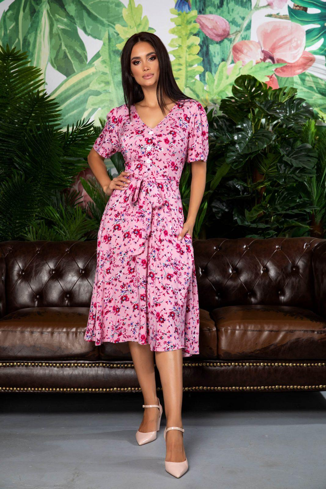 Ροζ Καθημερινό Φόρεμα Corinne 7893