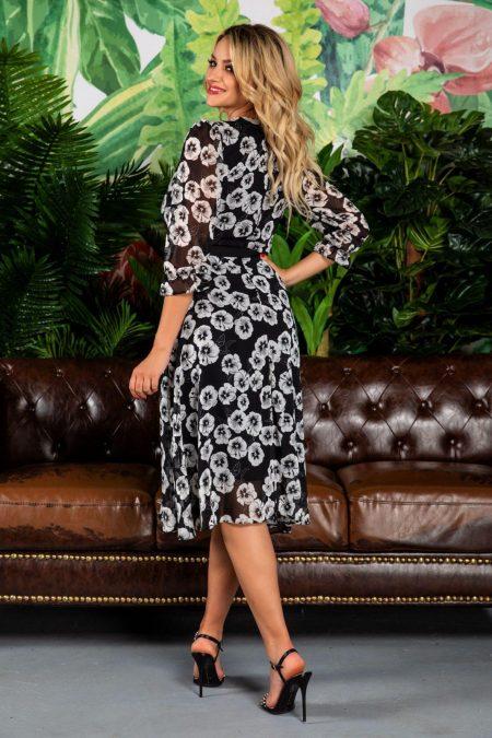 Μαύρο Φόρεμα Με Λουλούδια Arisha 7778