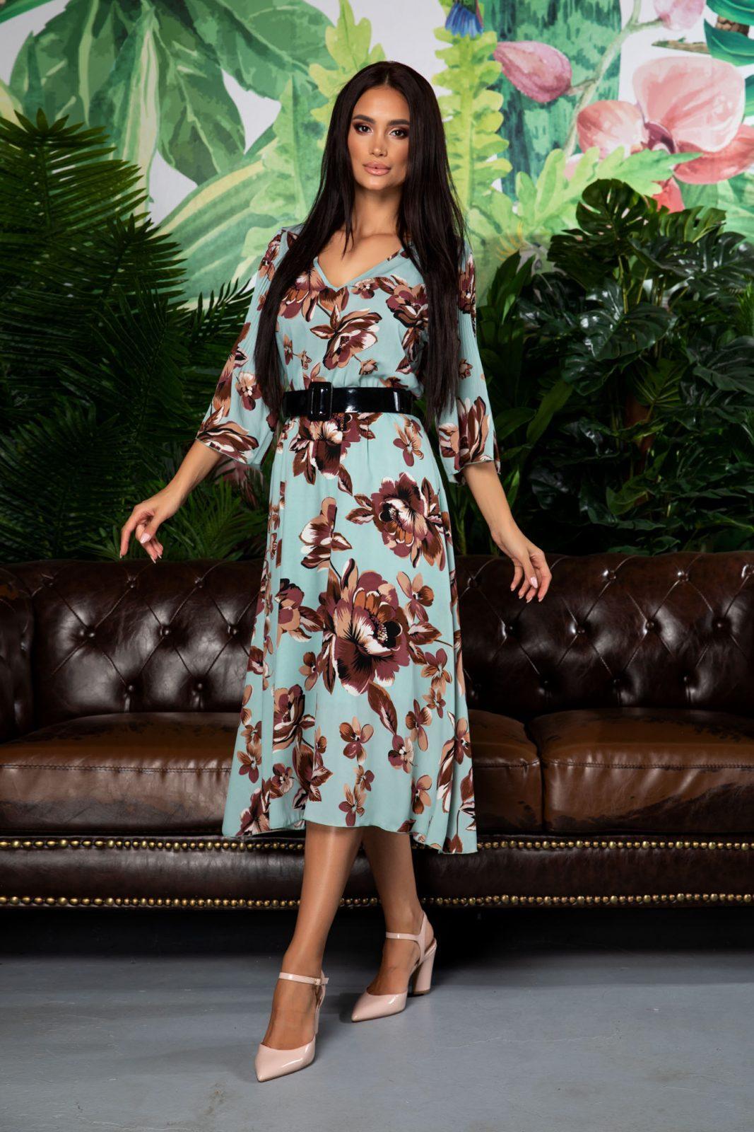 Μέντα Φλοράλ Φόρεμα Με Ζώνη Issadora 7861