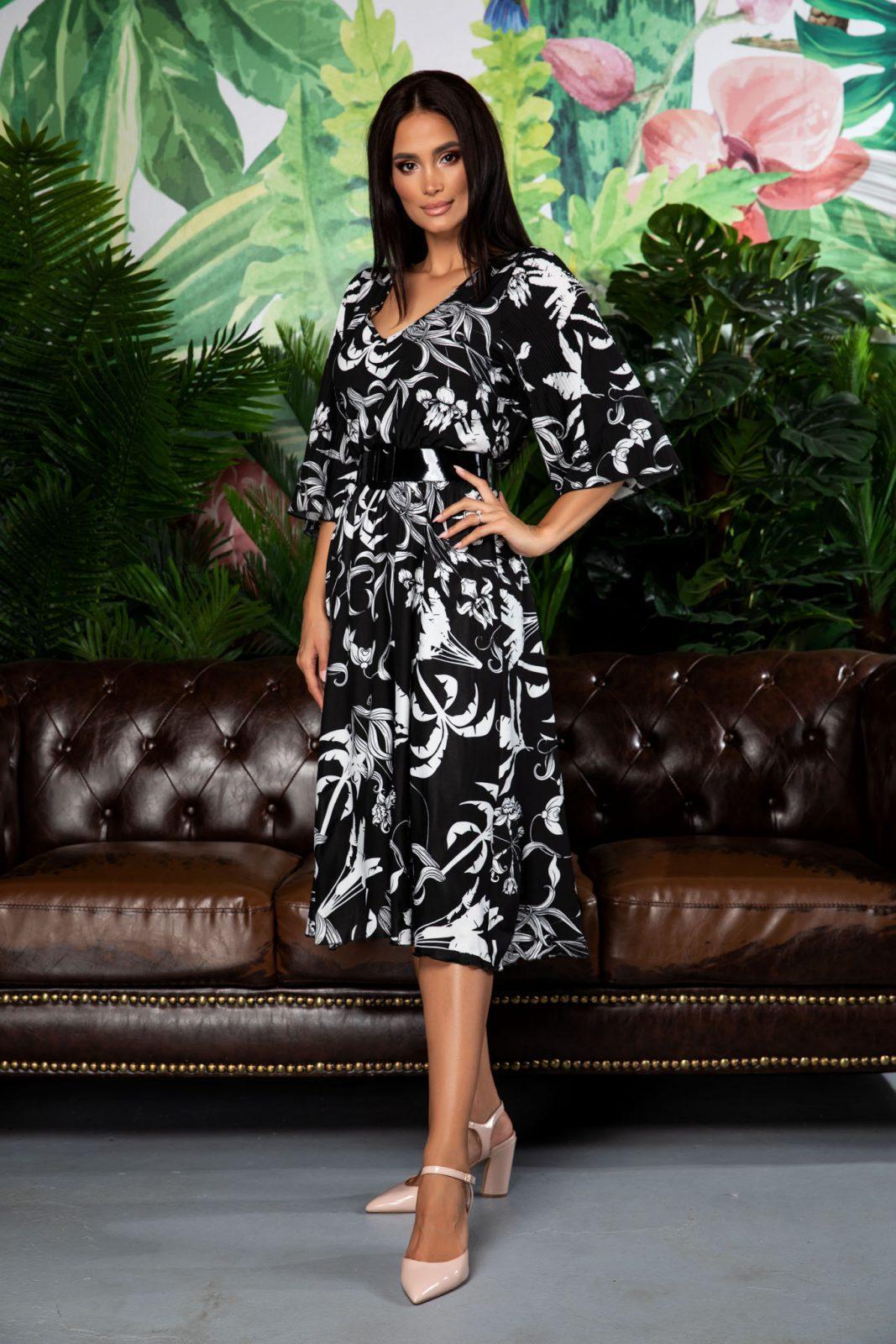 Μαύρο Φλοράλ Φόρεμα Με Ζώνη Issadora 7863