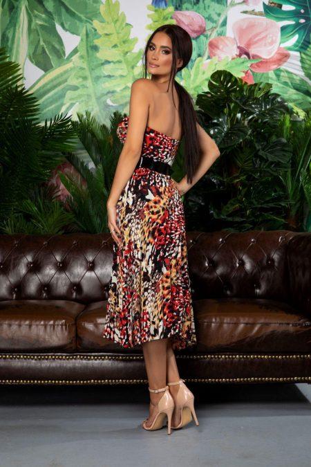 Animal Print Φόρεμα Στράπλες Με Ζώνη Serenity 7871