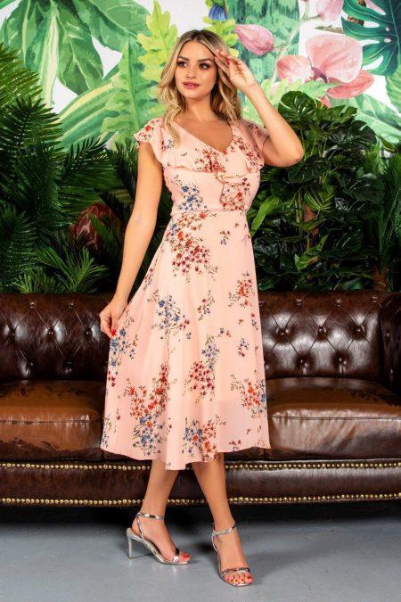 Ροδακινί Καθημερινό Φόρεμα Summer 7816