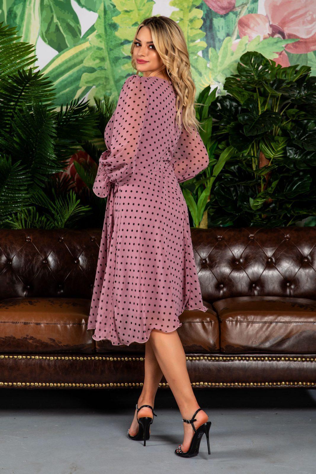 Λιλά Πουά Φόρεμα Simine 7813 1