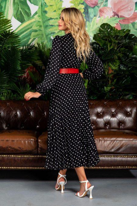 Μαύρο Πουά Φόρεμα Με Ζώνη Malina 7789