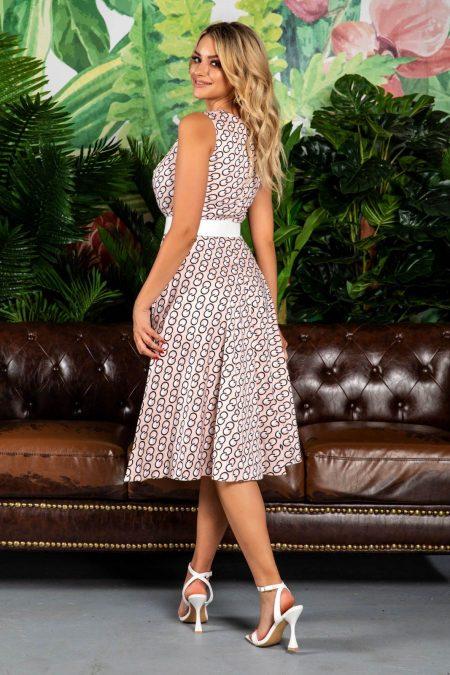 Μπεζ Φόρεμα Με Άσπρη Ζώνη Eralya 7787