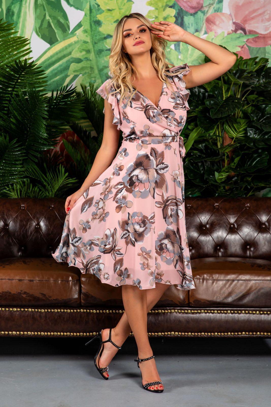 Ροζ Φλοράλ Αμάνικο Φόρεμα Heidy 7781 2