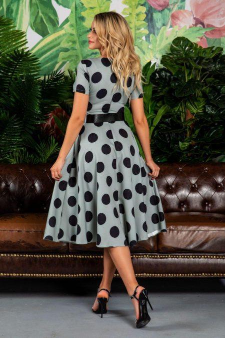 Πράσινο Πουά Φόρεμα Με Ζώνη Stacy 7785