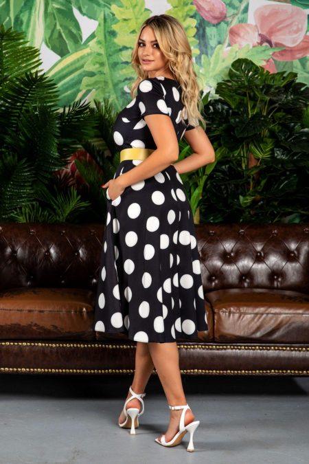 Μαύρο Πουά Φόρεμα Με Ζώνη Stacy 7786