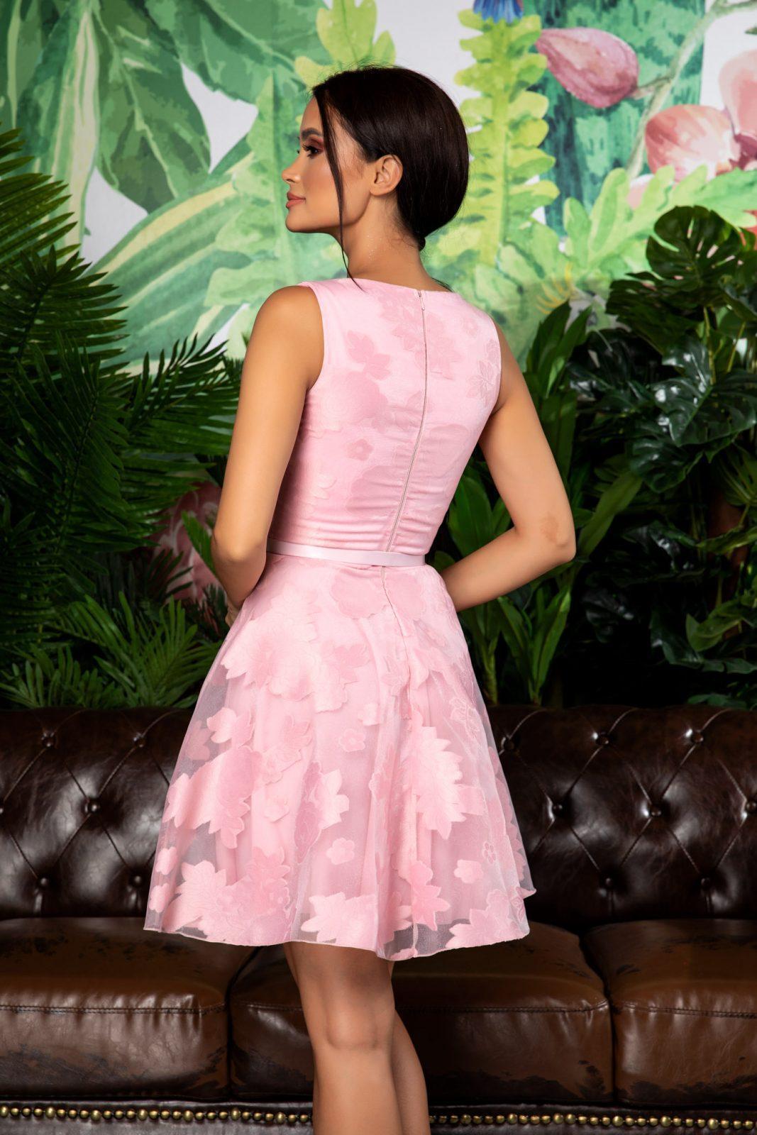 Ροζ Αμάνικο Φόρεμα Με Ζώνη Jossie 7877