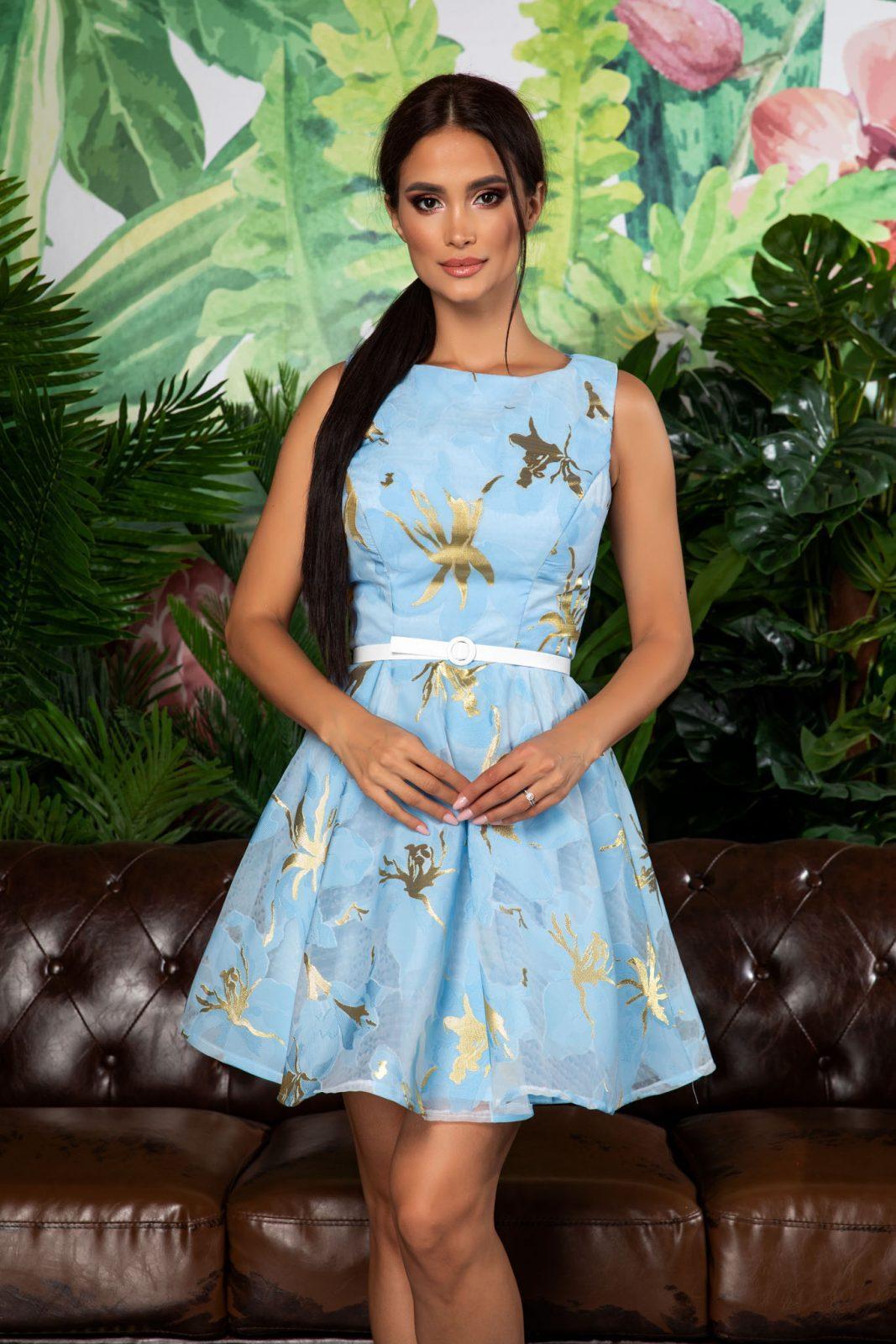 Γαλάζιο Αμάνικο Φόρεμα Με Ζώνη Jossie 7909 2
