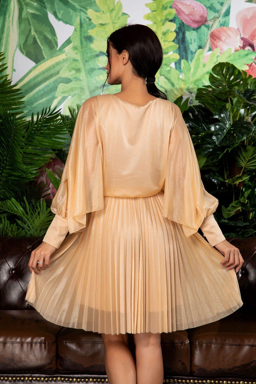 Nude Πλισέ Βραδινό Φόρεμα Analisa 7872