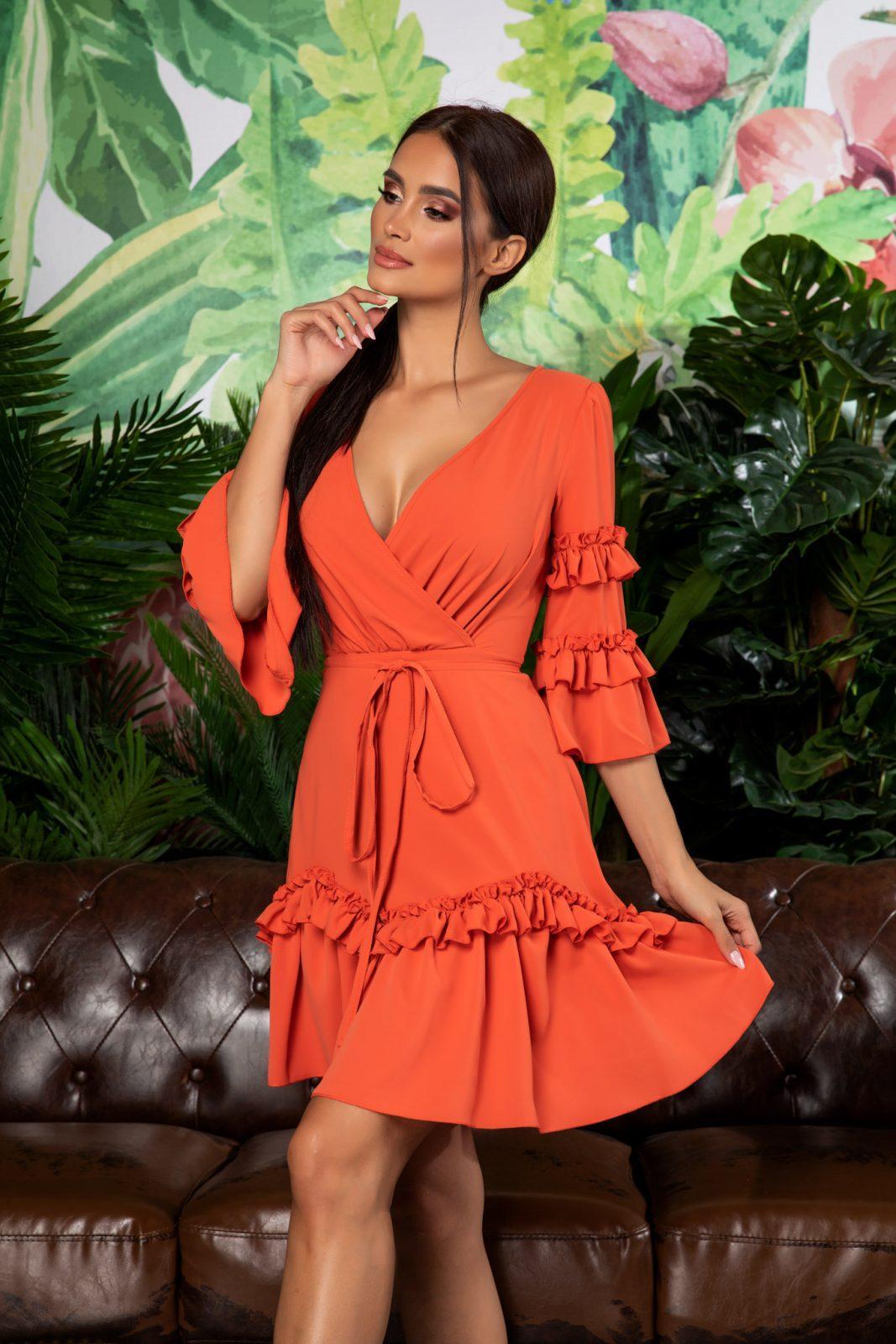 Πορτοκαλί Mini Φόρεμα Με Βολάν Eda 7889