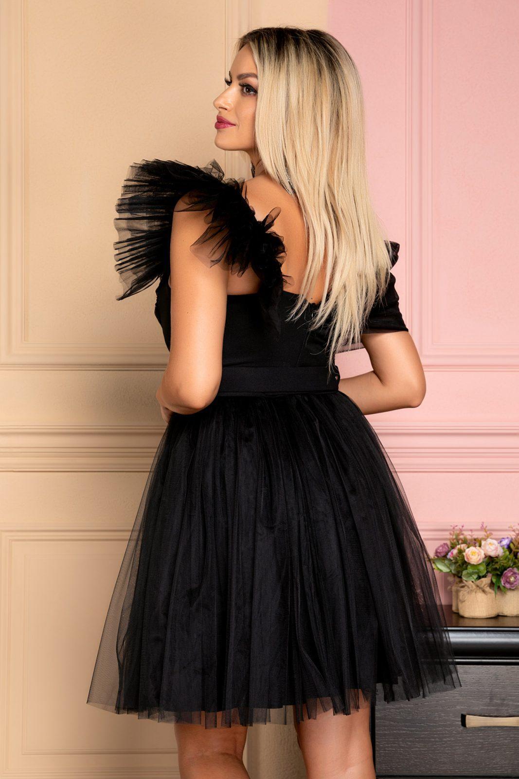 Μαύρο Βραδινό Φόρεμα Με Έναν Ώμο Sweetie 7998