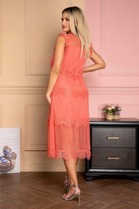 Κοραλί Μίντι Φόρεμα Με Δαντέλα Wendy 7958