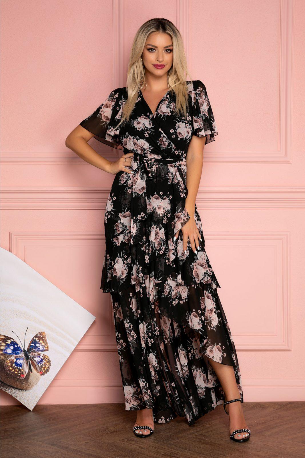 Μαύρο Maxi Floral Φόρεμα Με Βολάν Callista 7936