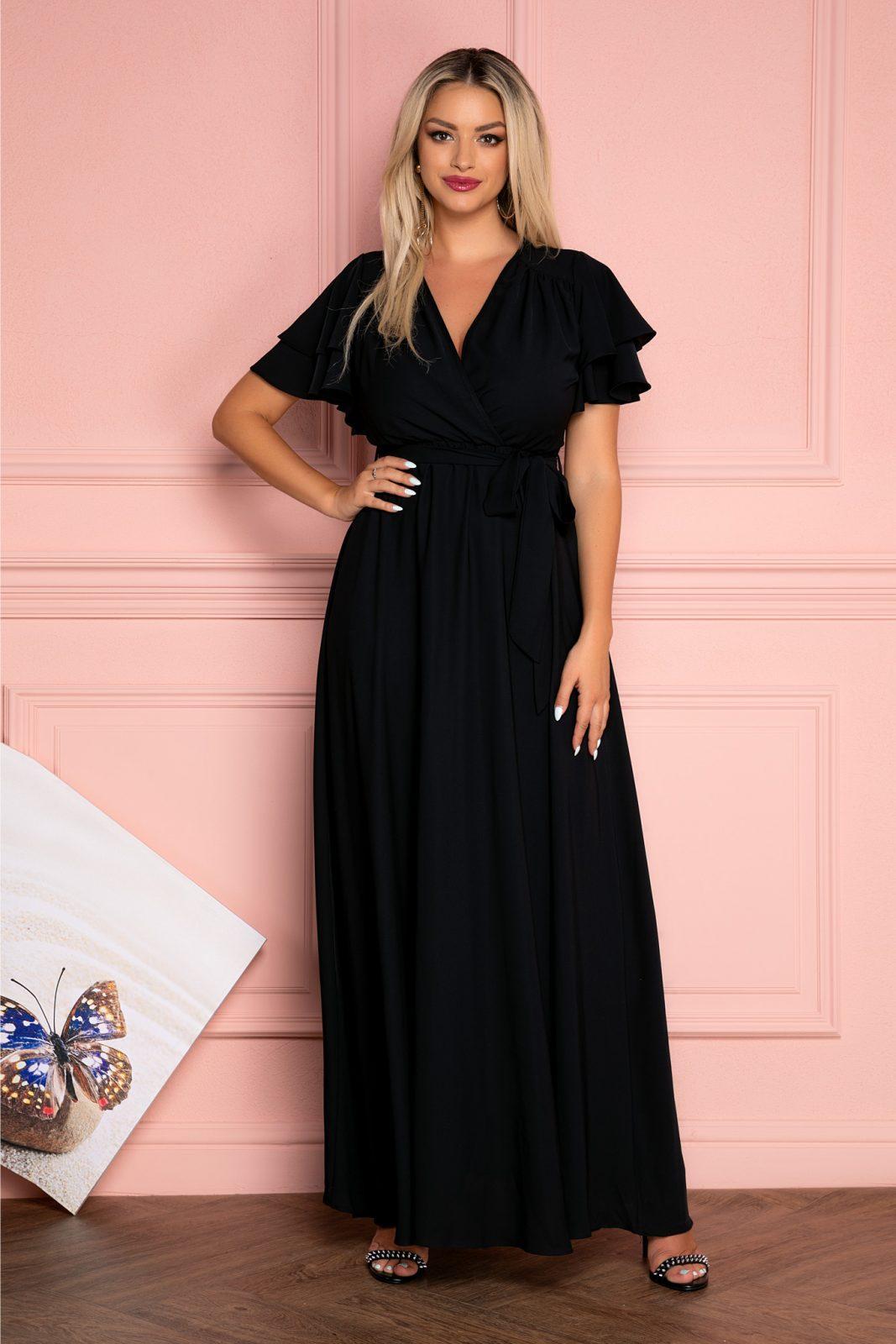 Μαύρο Μάξι Κρουαζέ Φόρεμα Isabell 7981 2