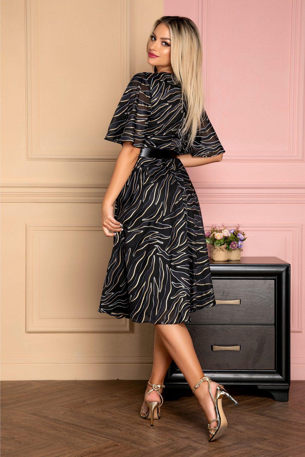 Μίντι Μαύρο Κρουαζέ Φόρεμα Με Ζώνη Zina 8005