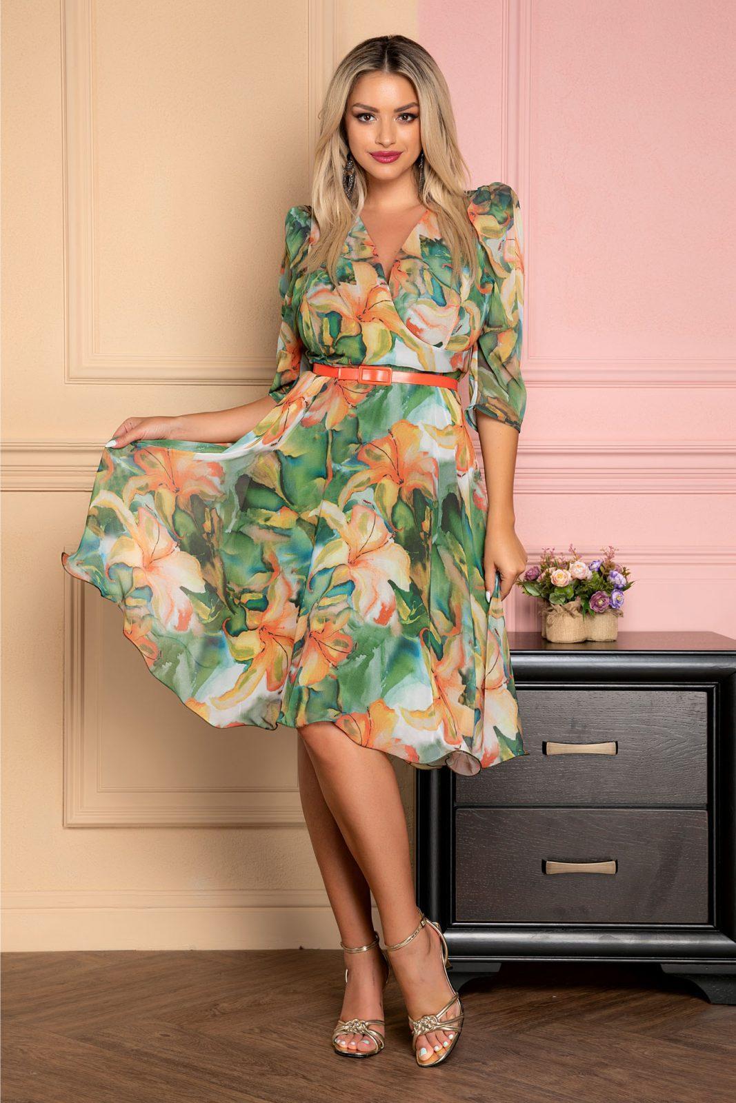 Πράσινο Κρουαζέ Φόρεμα Με Ζώνη Magda 7944