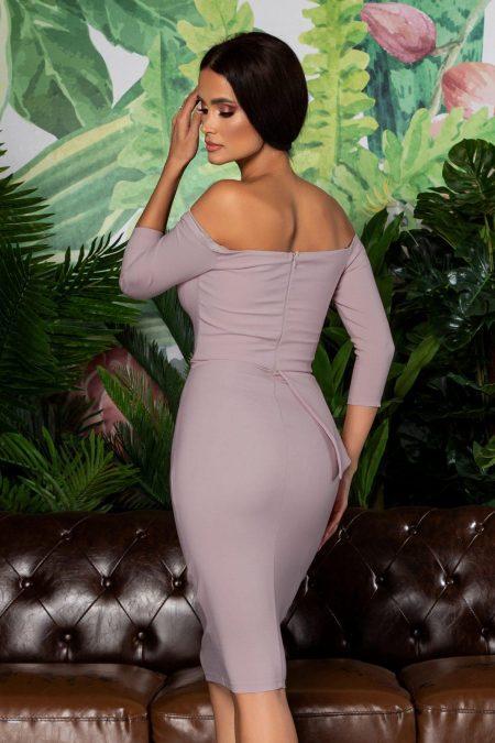 Λιλά Μίντι Βραδινό Φόρεμα Klayre 8074