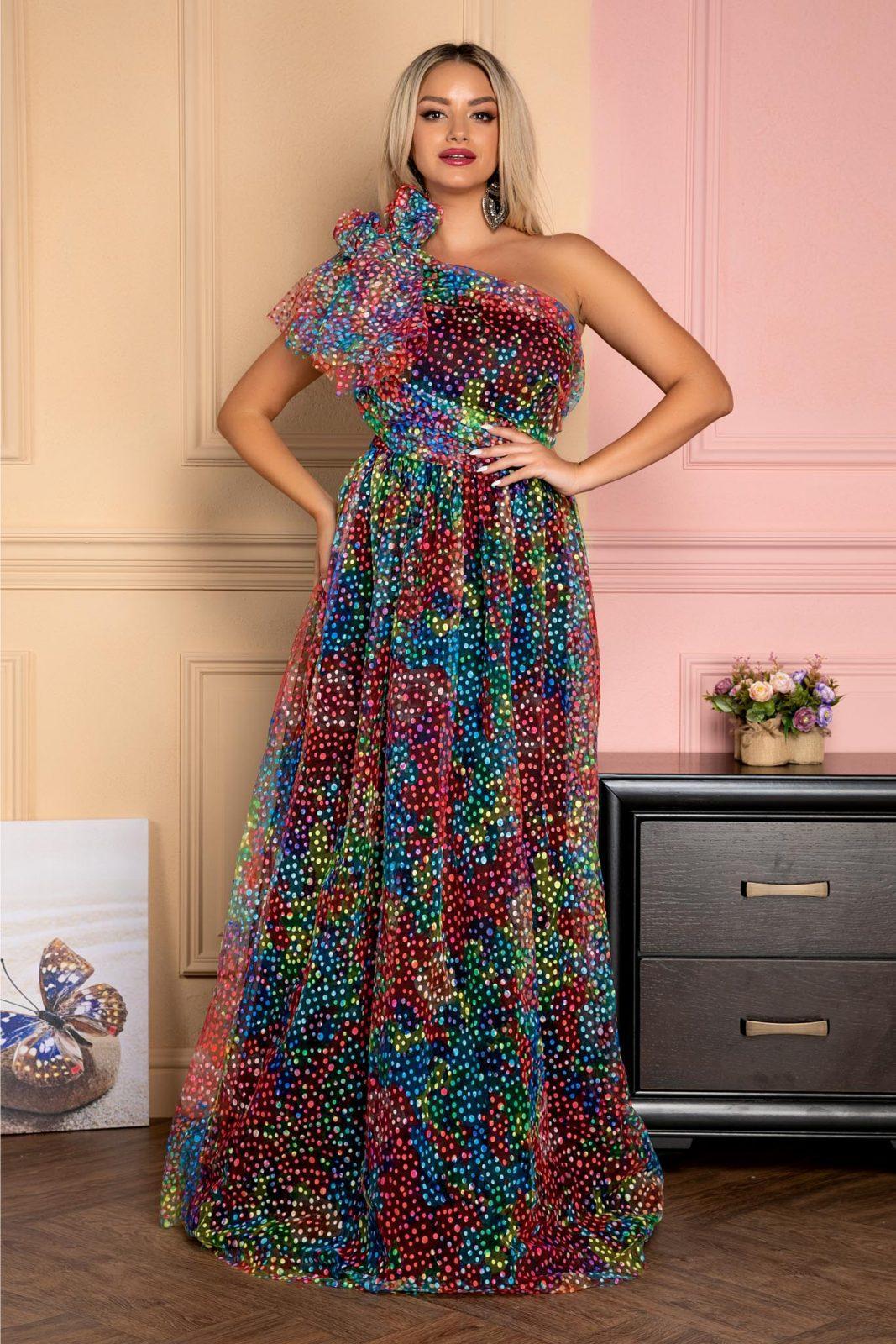 Μάξι Πολύχρωμο Βραδινό Φόρεμα Με Φιόγκο Quinn 7970