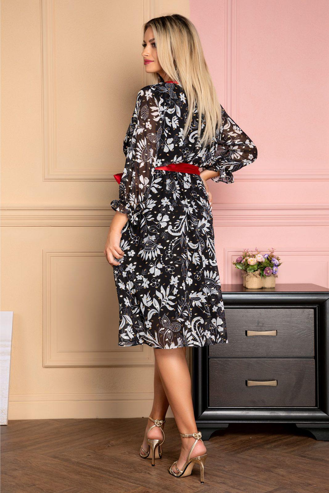 Μαύρο Φόρεμα Με Κόκκινη Ζώνη Giully 8023