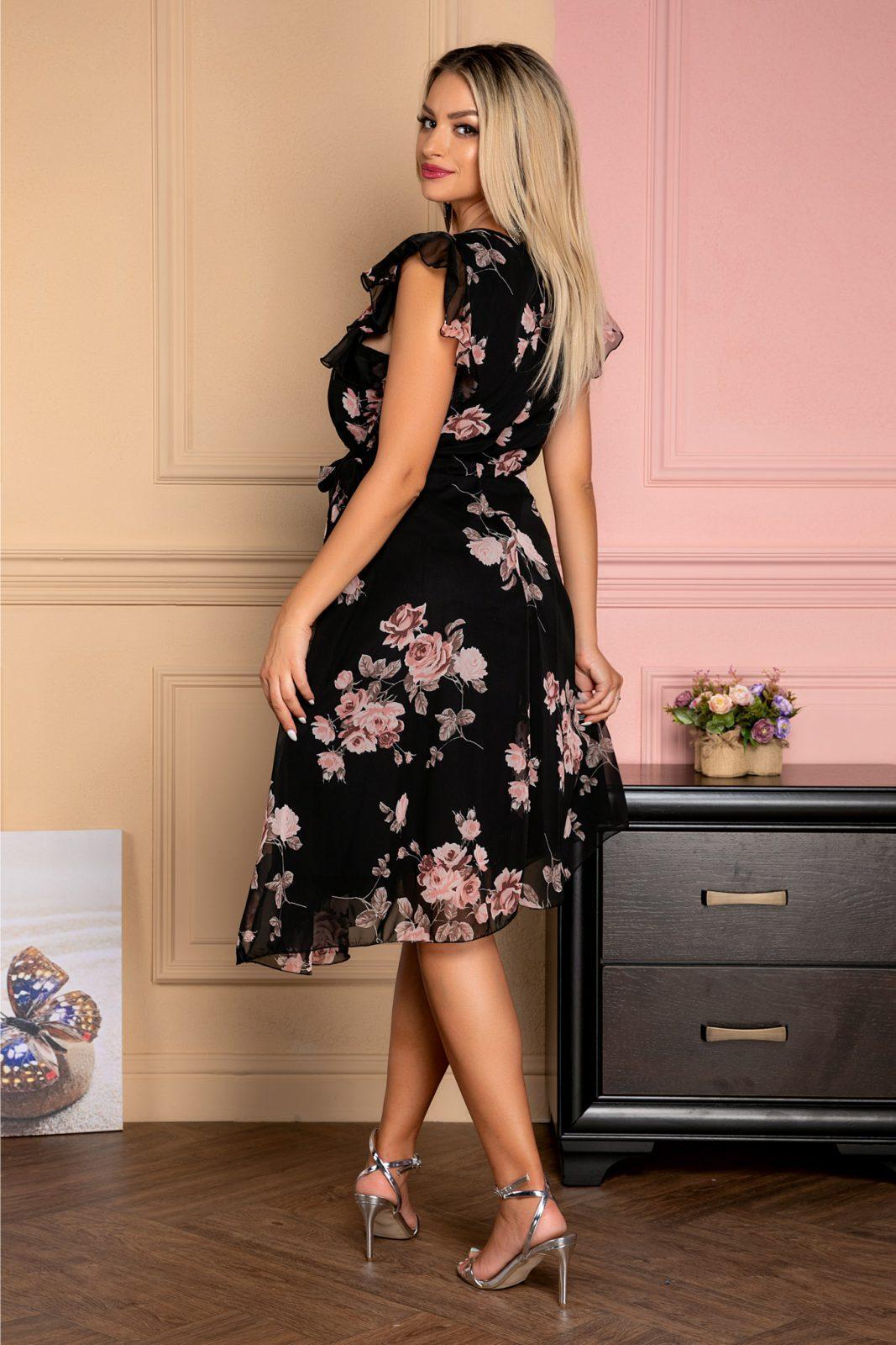 Μαύρο Αμάνικο Φόρεμα Με Βολάν Heidy 7938