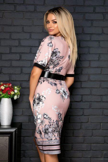 Μίντι Ροζ Φόρεμα Με Ζώνη Xenia 8045