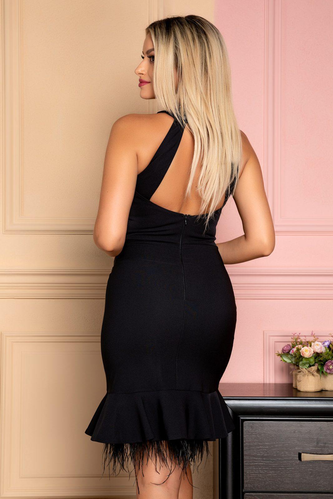 Μαύρο Βραδινό Φόρεμα Με Βολάν Ryana 7965